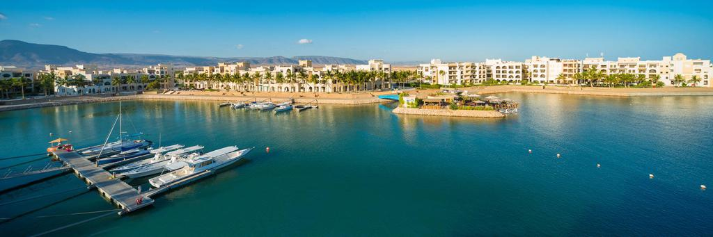Resort Hawana Salalah with small houses located at the marina with boots which is the venue of IRONMAN 70.3 Salalah