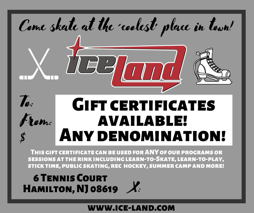 Gift certificates for Ice Land Skating Center!
