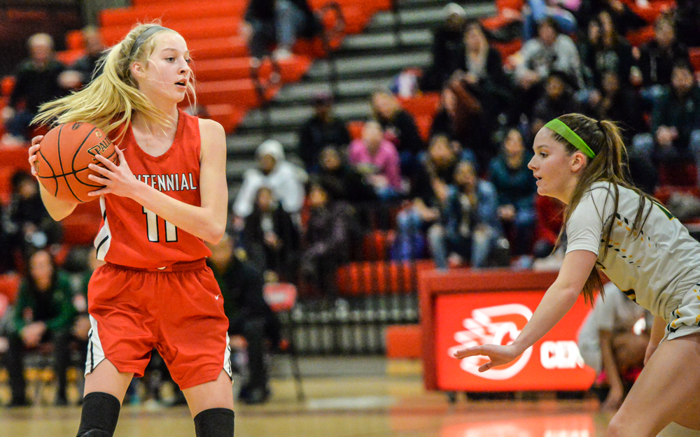 Centennial's Hannah Herzig (11) scored the game-winning three-pointer with just seconds remaining in the game Tuesday. The Cougars defeated Park Center 73-71. Photo by Earl J. Ebensteiner, SportsEngine