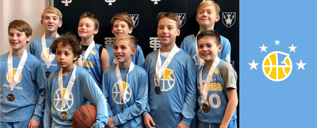 Minneapolis LakersBoys 6th Grade Blue pose with their medals after earning 3rd place at the Cadet Classic tournament in Mendota Heights, MN