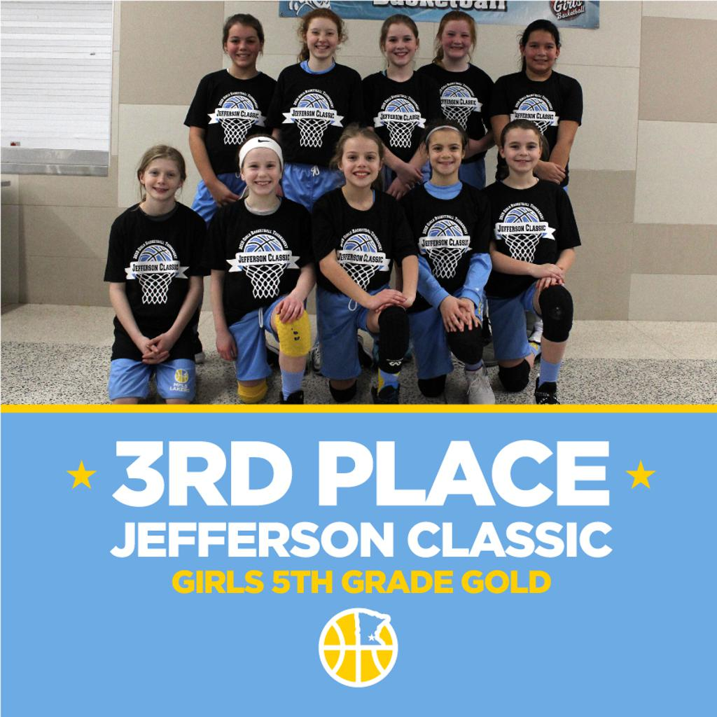 Minneapolis Lakers Girls 5th Grade Gold pose with their t-shirts after taking 3rd Place at the Jefferson Classic Girls Basketball tournament in Bloomington, MN