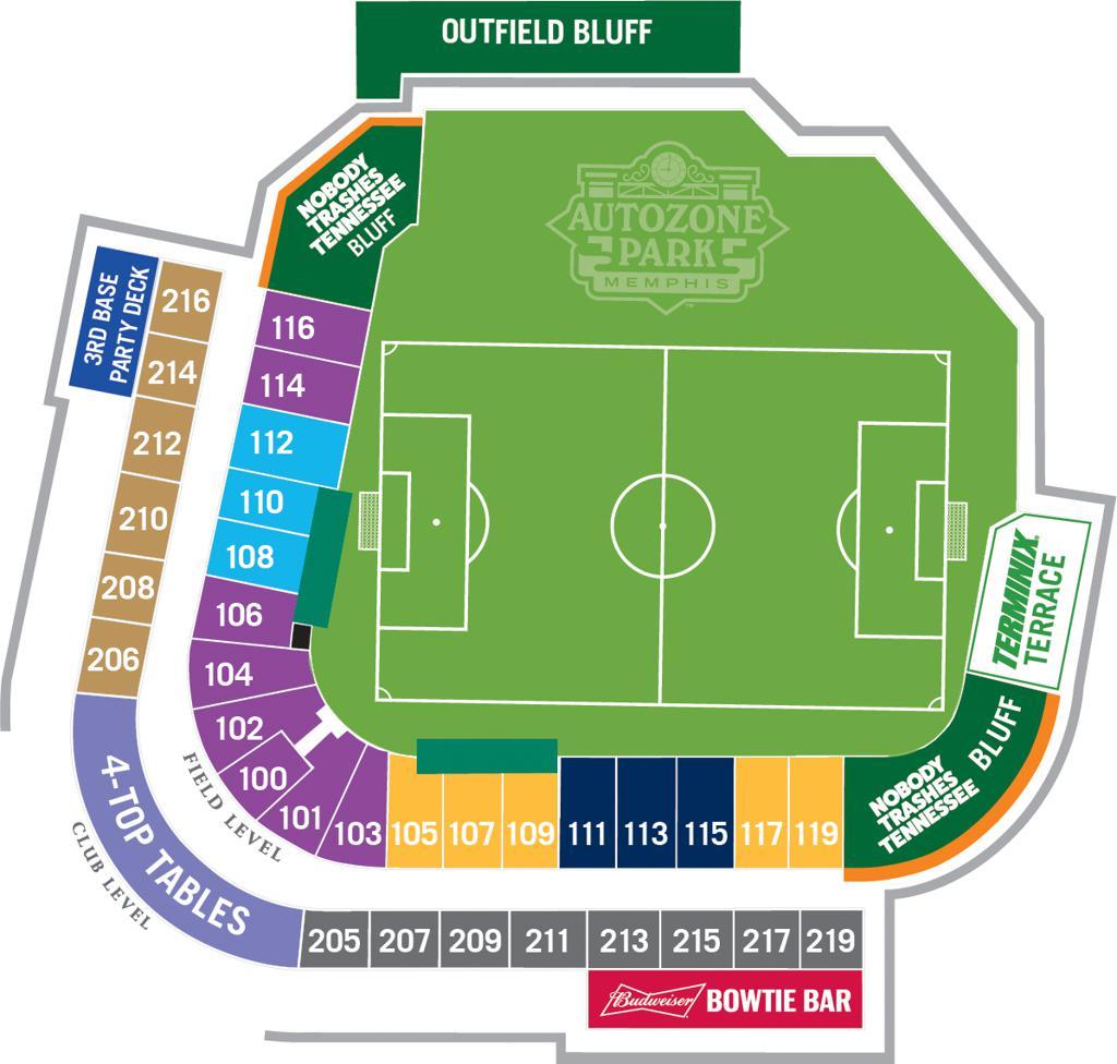 2020 AutoZone Park Seating Chart - Memphis 901 FC