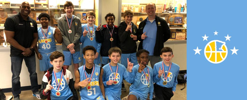 Minneapolis Lakers Boys 7th Grade Blue pose with their Medals after becoming the Champions at the Bloomington Lions Invitational tournament in Bloomington, MN