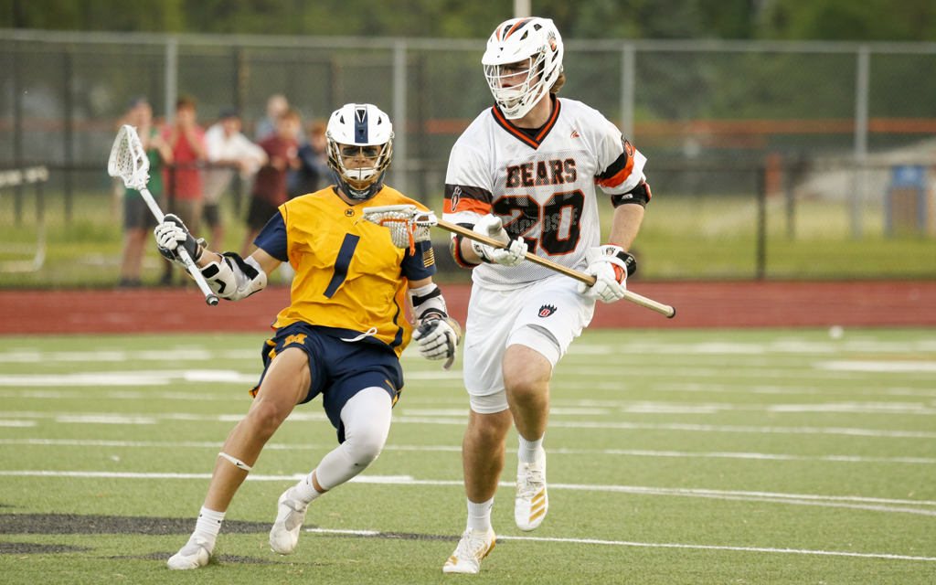 White Bear Lake's John McBride brings the ball upfield against Mahtomedi in the Section 4 final Wednesday night. The Bears fell to the Zephyrs 15-9. Photo by Jeff Lawler, SportsEngine