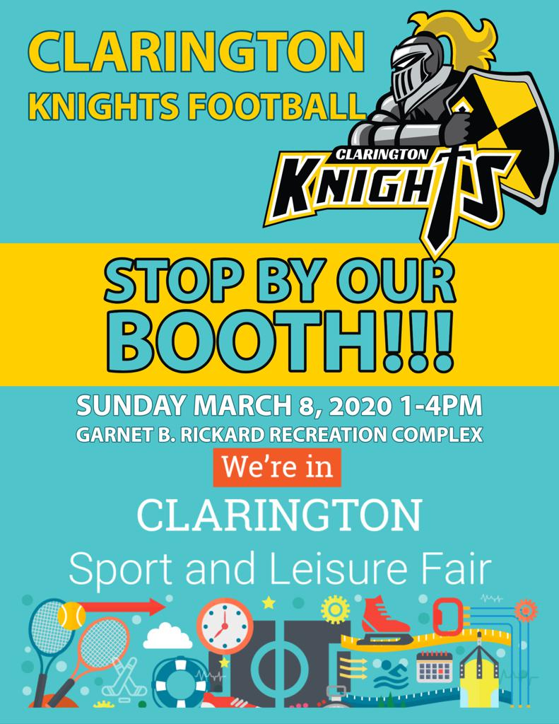 Come visit Clarington Knights Football and other community organizations from around Clarington while discovering all that Clarington has to offer!  Free public skating from 1:30 to 3:15 p.m. Free pizza courtesy of Boston Pizza Bowmanville  Sunday, March