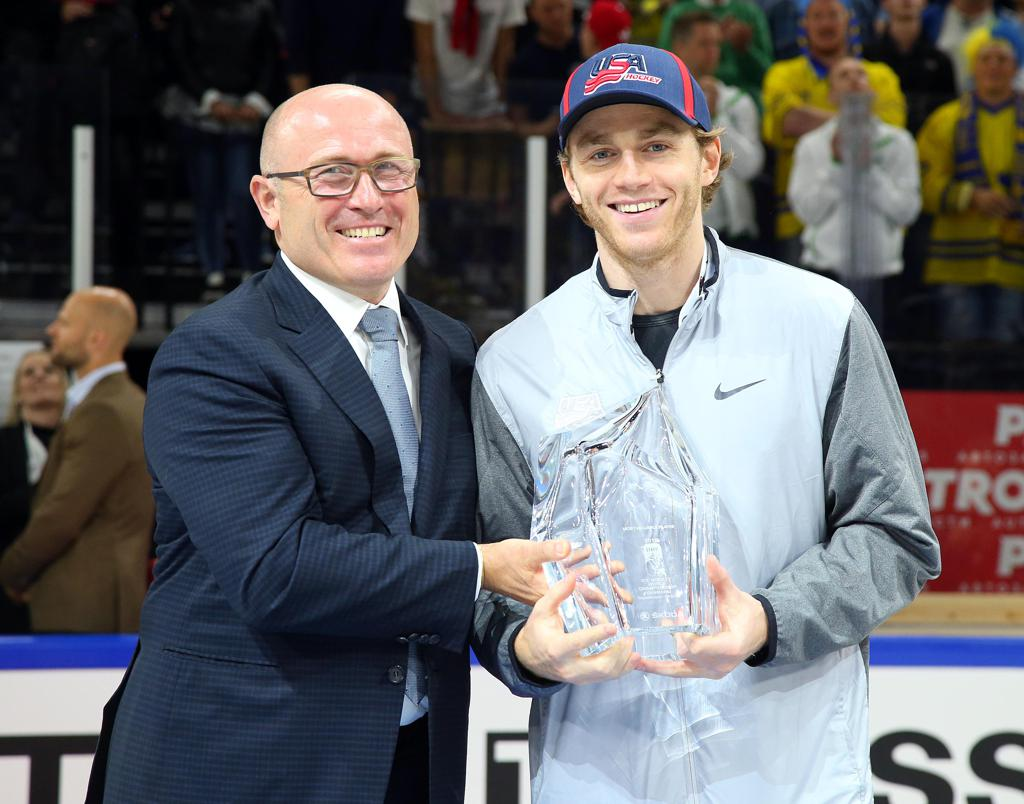 Patrick Kane is presented with the Tournament MVP Award following the 2018 IIHF Men's World Championship.