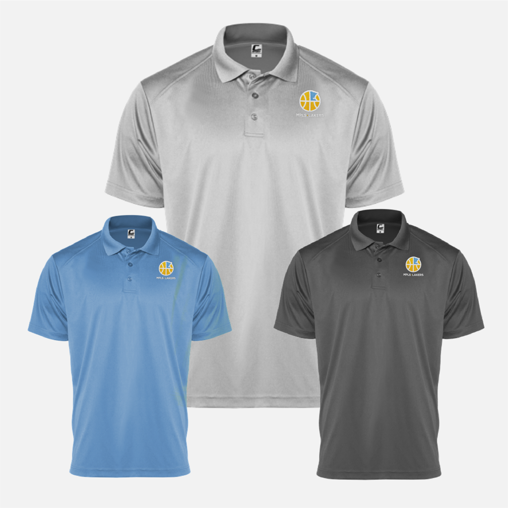 Official Mpls Lakers Youth Traveling Basketball Program Inc apparel and gear in Minneapolis, MN: Men's polo shirts in Grey, Black and Blue with embroidered logo and text