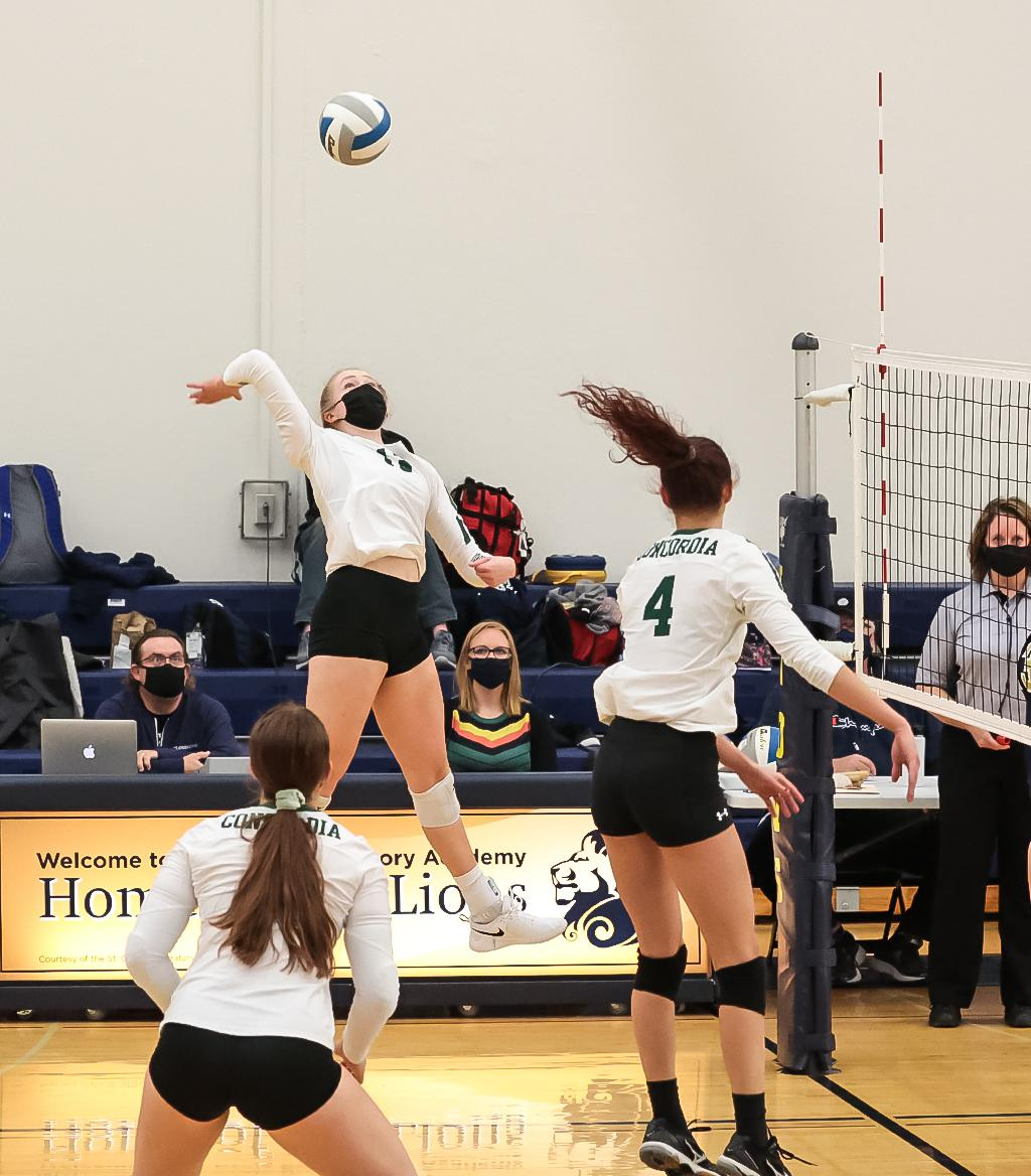 Outside hitter Kira Fallert (13) closes out the the match with her 14th kill of the night. Fallert and the Beacons remain undefeated in the Skyline Conference standings with a 3-0 win over St. Croix Preparatory Academy. Photo by Cheryl A. Myers, SportsEng