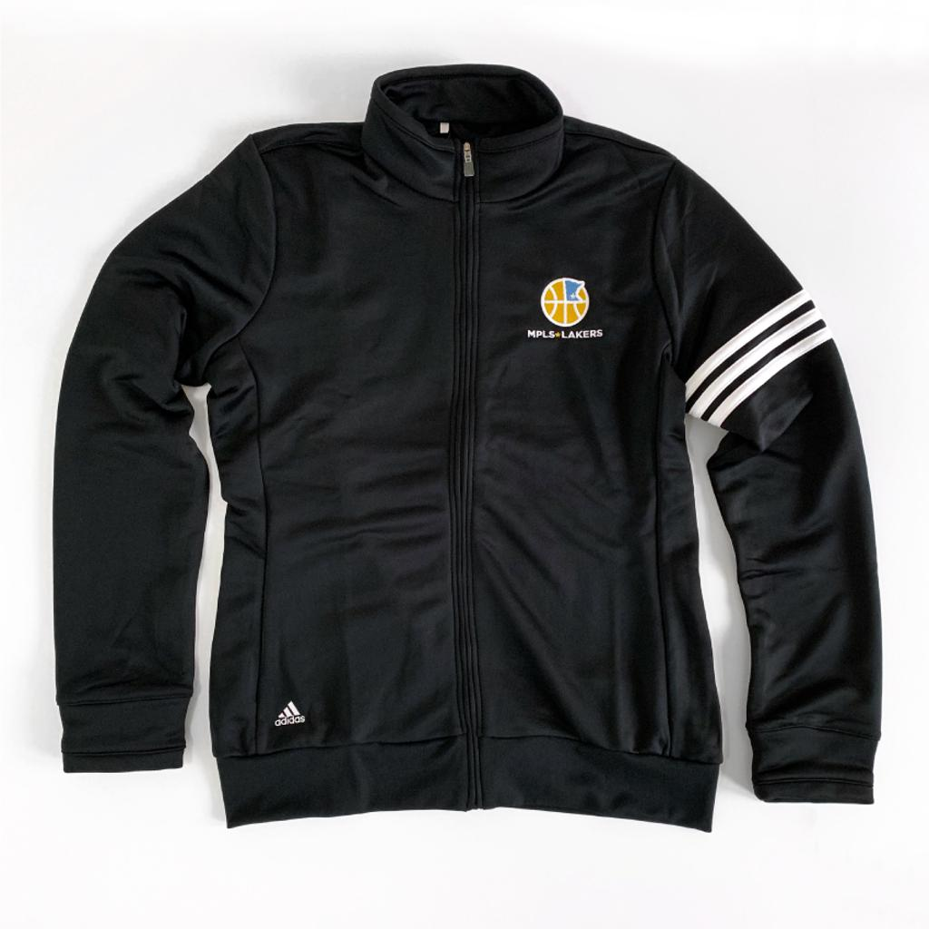 Women's Black Adidas Warm Up Jacket with embroidered logo on left chest