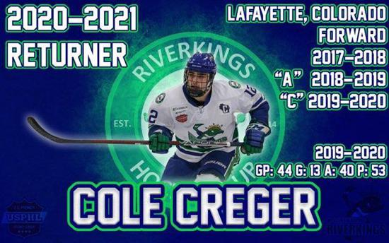 SIGNING ALRERT! Let's welcome back one of  our Captains Cole Creger as he is returning for his 4th season for the Riverkings! Cole had a great season last year as he had 53 Points in 44 Games played and averaged 1.20 points per game!