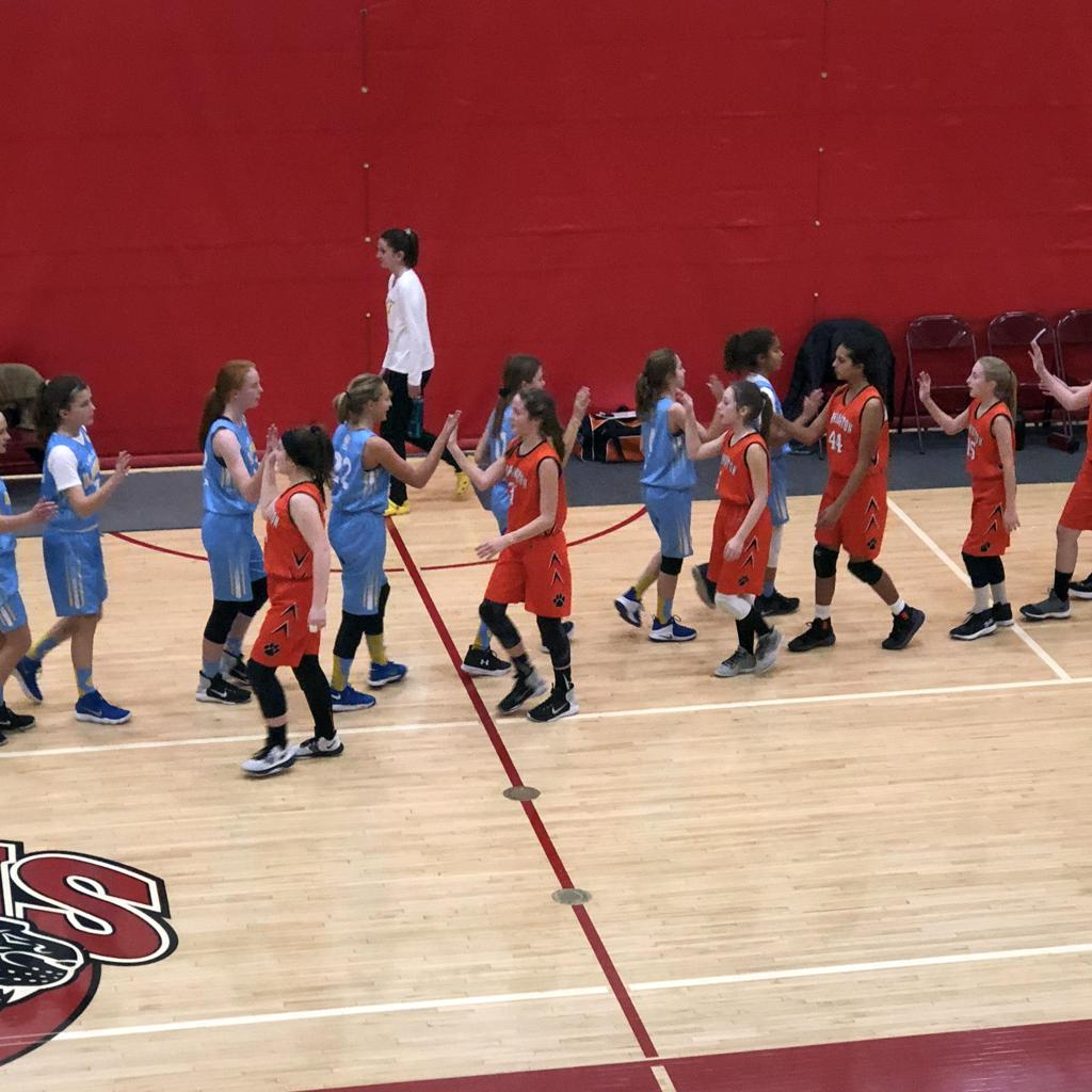 Girls 7th Grade Gold shakes hands with their opponent after the 3rd place game of the Lakeville Panther Classic 2018