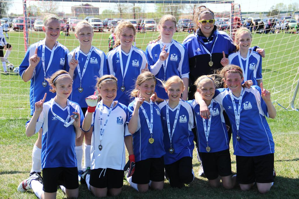Our 2011 U12 LAYSA girls with Coach Jess - tournament champs