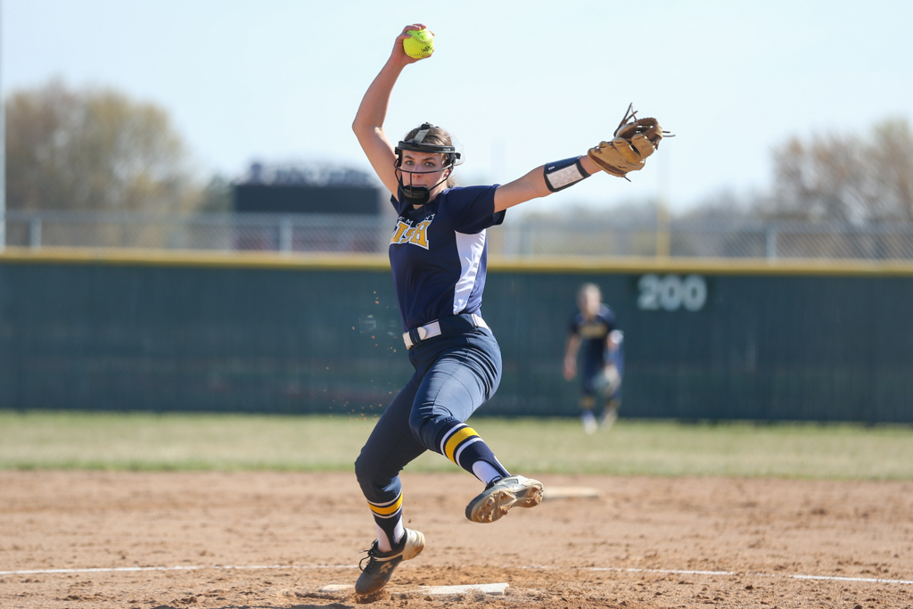 Rosemount's Jessa Snippes (18) delivers a pitch during the second inning of Wednesday evening's game against Lakeville North. The Irish fell to the Panthers 2-1 in eight innings. Photo by Jeff Lawler, SportsEngine
