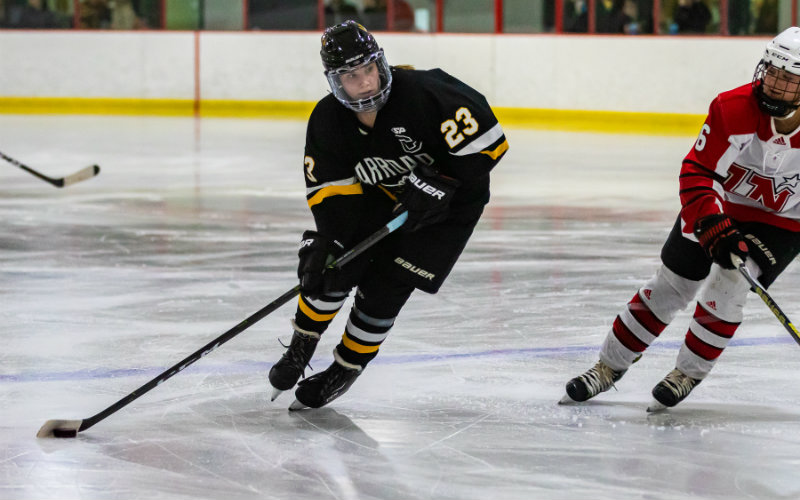 Hannah Corneliusen (No. 23) of Warroad led the state in goals scored through the section playoffs with 53 total tallies. The Merrimack commit is one of five finalists chosen for this year's Ms. Hockey award. Photo by Gary Mukai, SportsEngine