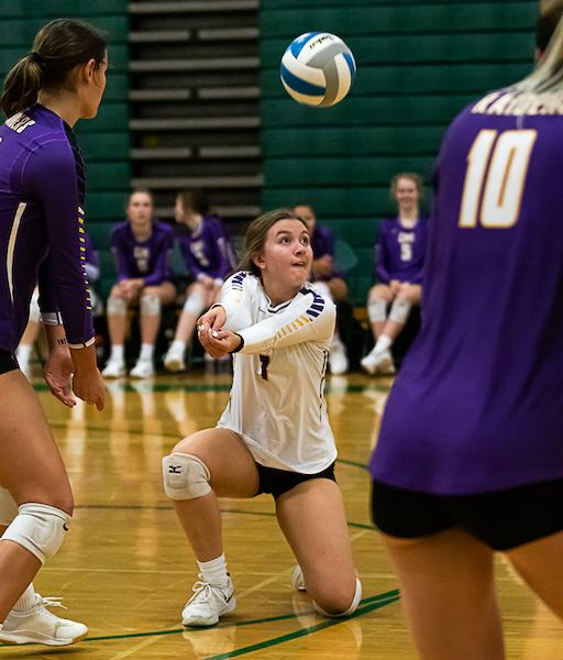 Cretin-Derham Hall's Mia Scanlan (7) recorded her 1,000th career dig in a victory at Mounds View on Tuesday. Photo by Gary Mukai, SportsEngine