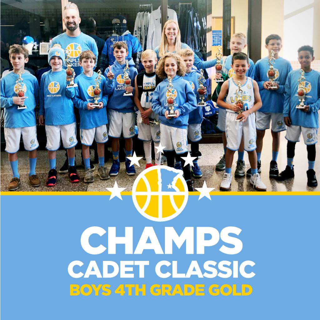 Boys 4th Grade Gold pose with their hardware after taking 1st at Cadet Classic