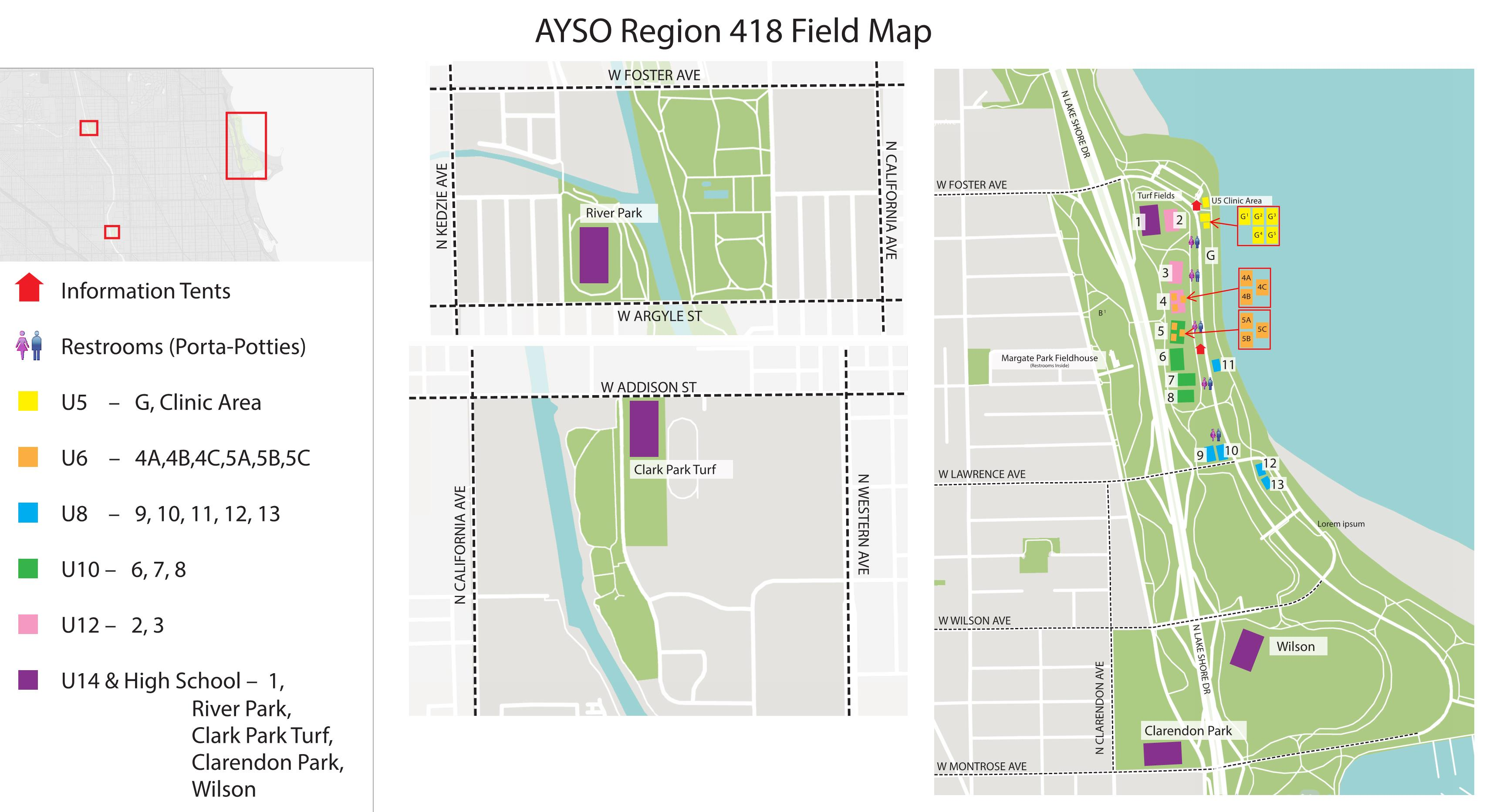 Ayso 418 Field Map Field Locations