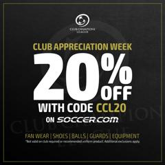 CCL Club Appreciation Week – receive 20% off on any item on SOCCER.COM using CCL20