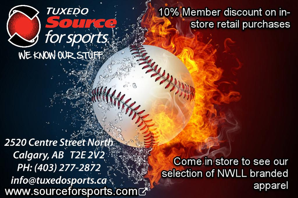 Tuxedo Source for Sports Logo with a wet and on fire baseball