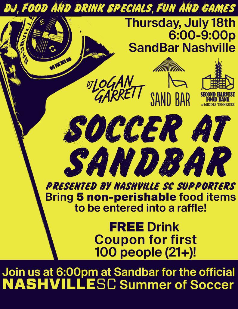 Nashville SC Soccer at Sandbar Nashville Thursday July 18