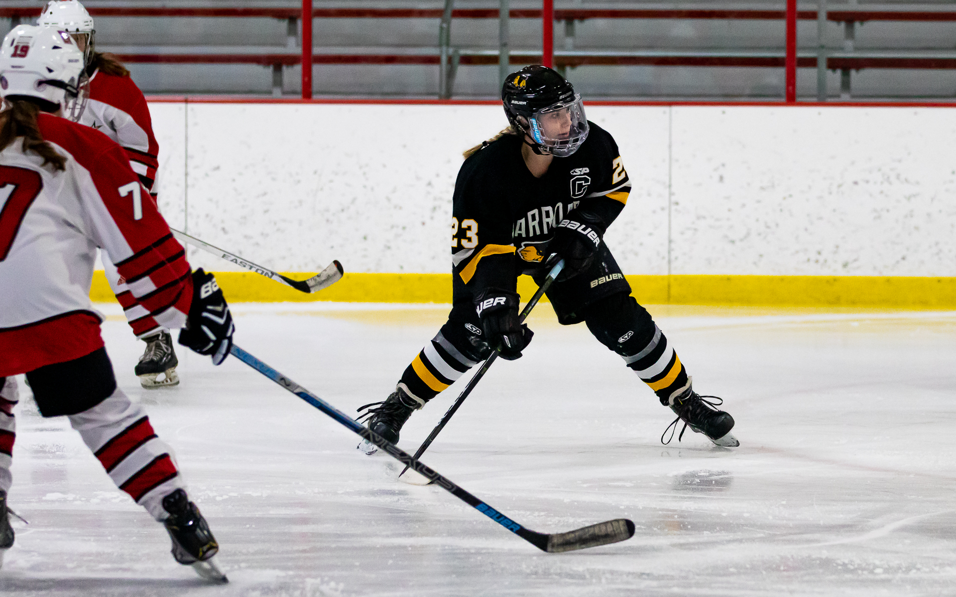 Warroad's Hannah Corneliusen scored her first of two goals Friday, as the Warriors defeated Lakeville North 4-1 at Ames Arena. Photo by Gary Mukai, SportsEngine