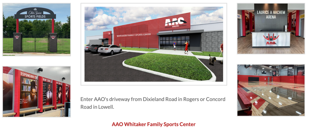 Rogers AAO Whitaker Family Sports Center, 4667 S Dixieland Rd., Rogers, AR 72758