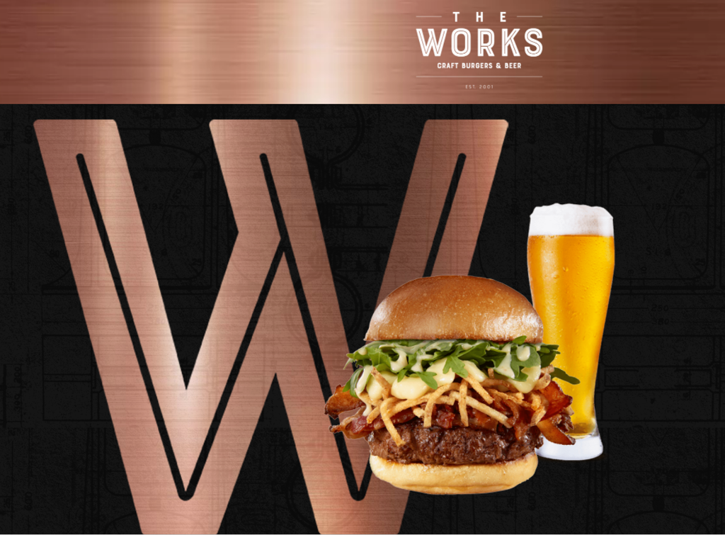 """""""the works"""" logo, with an image of a hamburger and pint of beer"""