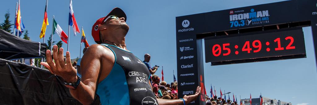 Runner celebrating at IRONMAN 70.3 Buenos Aires Argentina