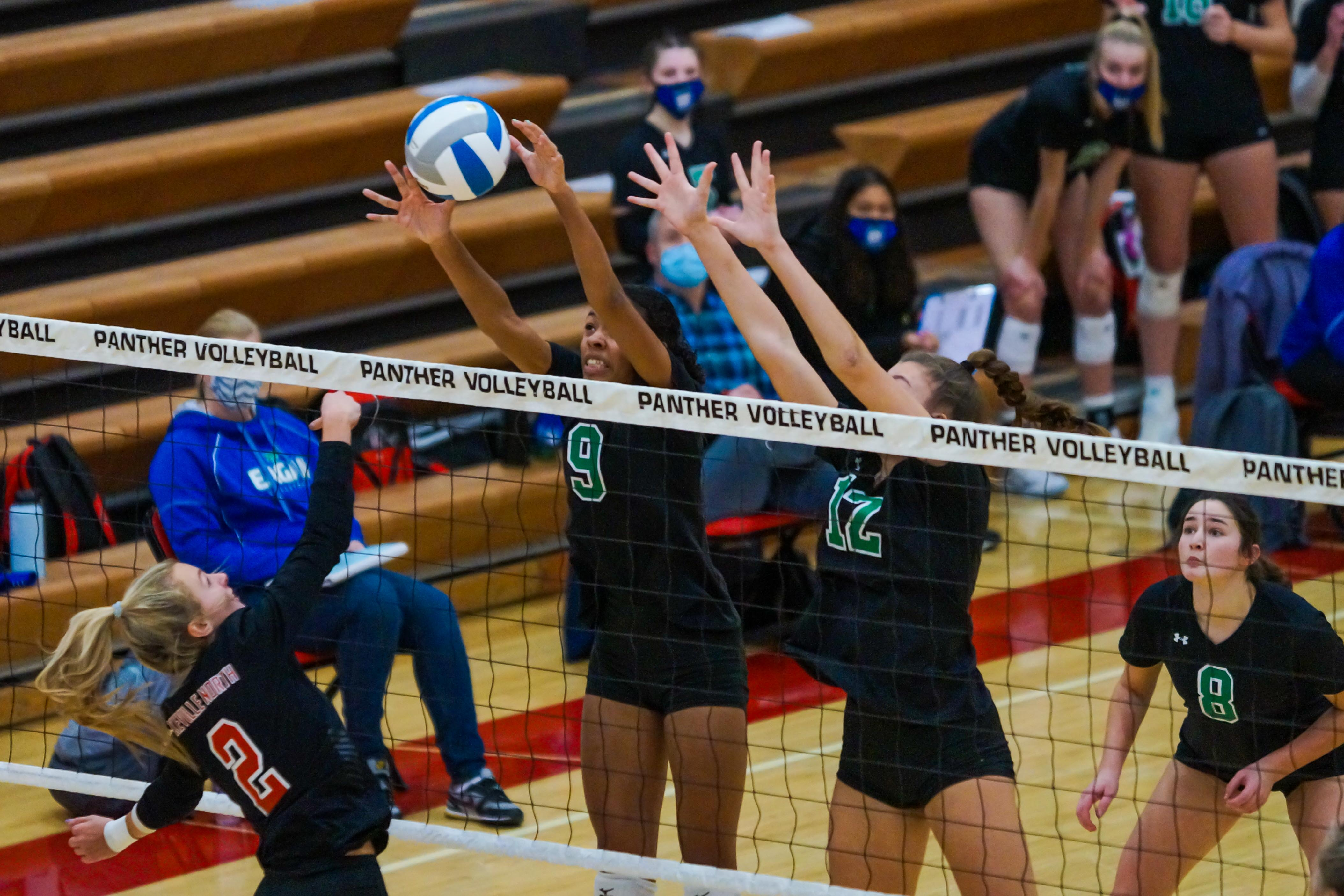 Eagan's Sienna Ifill (9) with a block on Lakeville North's Maddy Hornyak (2) during their match Nov. 19. Ifil had 12 kills in the Wildcats' 3-0 loss to Lakeville North on Thursday. Photo by Korey McDermott, SportsEngine