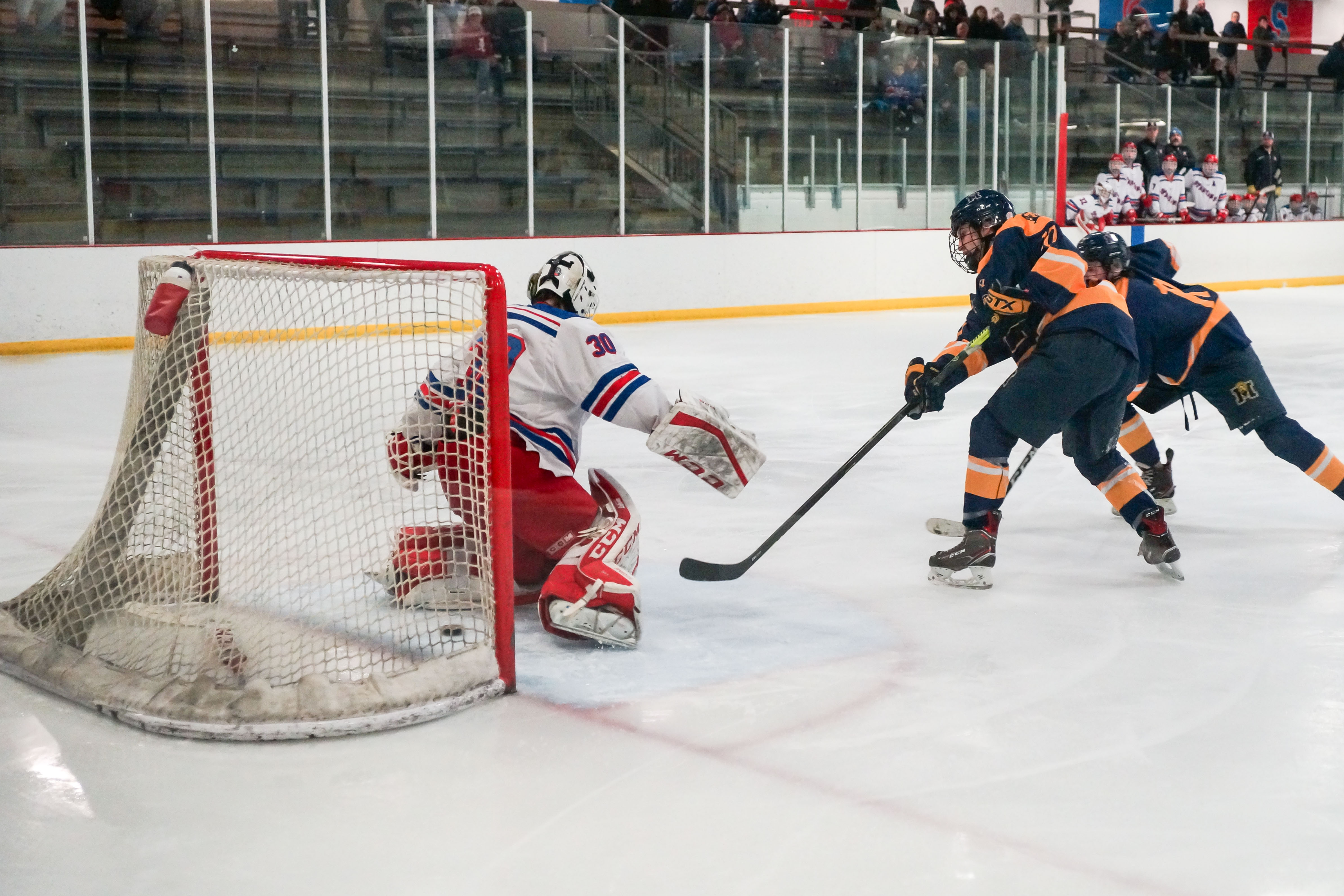 Adam Johnson (10) snuck a rebound past Simley goaltender Hunter Sandnas for the Zephyrs' second goal of the game. Photo by Korey McDermott, SportsEngine