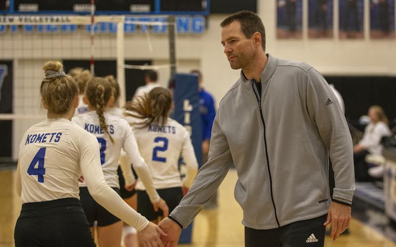 Kasson-Mantorville coach Adam Van Oort and the KoMets host Stewartville in a match to decide the Hiawatha Valley League crown. Photo by Jeff Lawler, SportsEngine