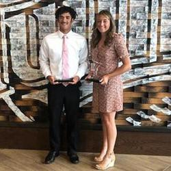 Brynn Hostettler (right) and 2021 Minnesota Mr. Baseball Noah Bush received the awards from the Minnesota All Sports Alliance at a June banquet. Photo courtesy of the Minnesota All Sports Alliance