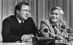 Doug Woog, left, at a news conference with University of Minnesota athletic director Paul Giel at a news conference in 1985 to announce Woog's hiring as the Gophers' hockey coach. Star Tribune file photo