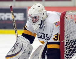 Forest Lake's Jesse Garcia (30) made 26 saves, as well as 2-of-3 in the shootout to lead the Rangers to victory.