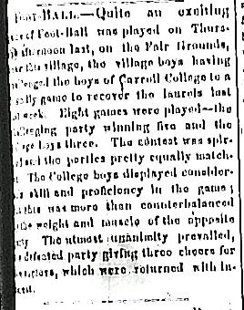 Recap of Oct. 18 match: Waukesha Town 5, Carroll Boys 3. From Waukesha Freeman, Oct. 23, 1866