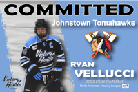 Ryan Vellucci tenders with Johnstown Tomahawks of the NAHL
