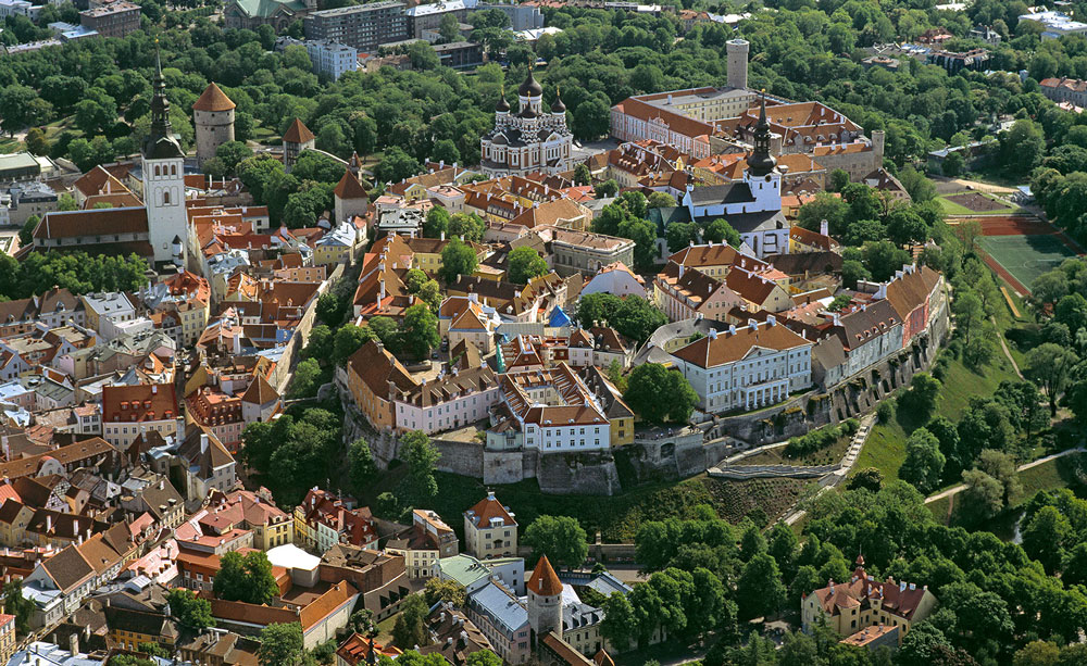 Bird's eye view of Tallinn's old town in Estonia