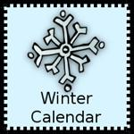 banner with a snowflake that says winter calendar