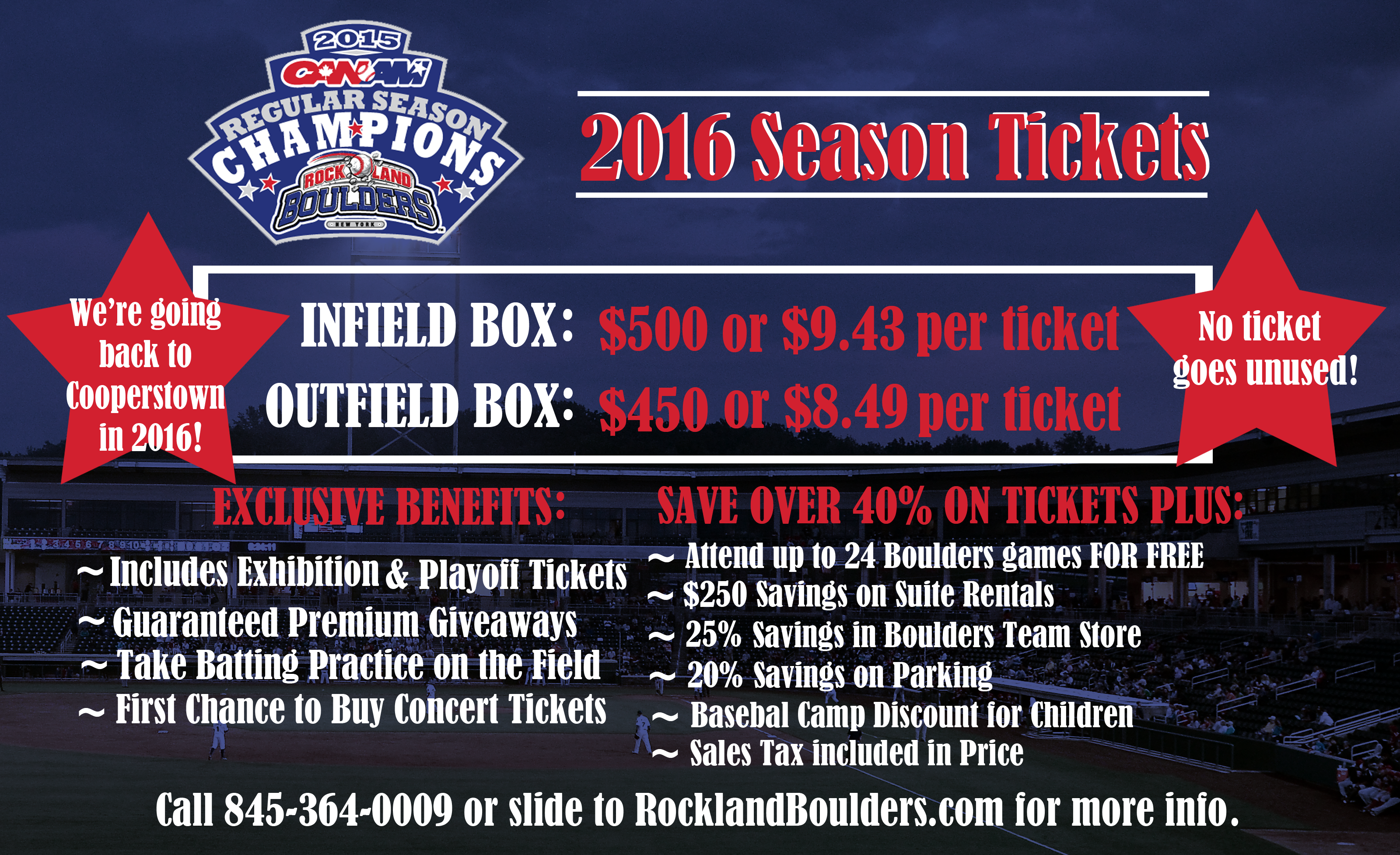 Experience the FunShine with Rockland Boulders Season Tickets.