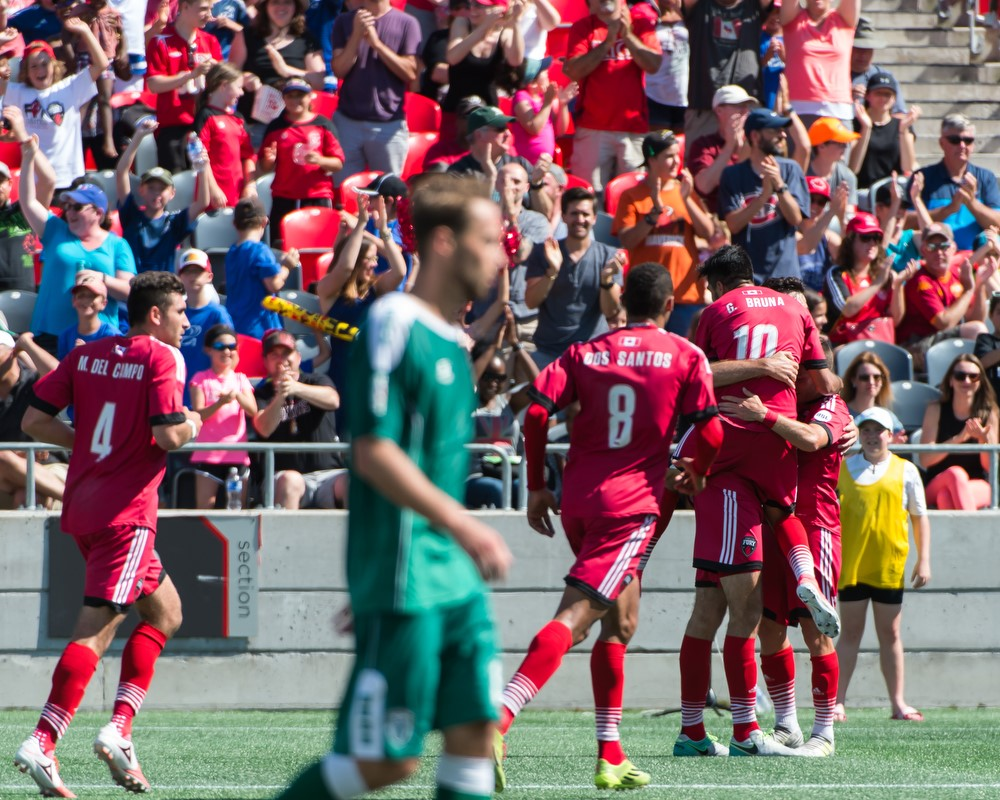 Fury FC players celebrating and hugging each other after Tucker Hume's goal in the 89th minute
