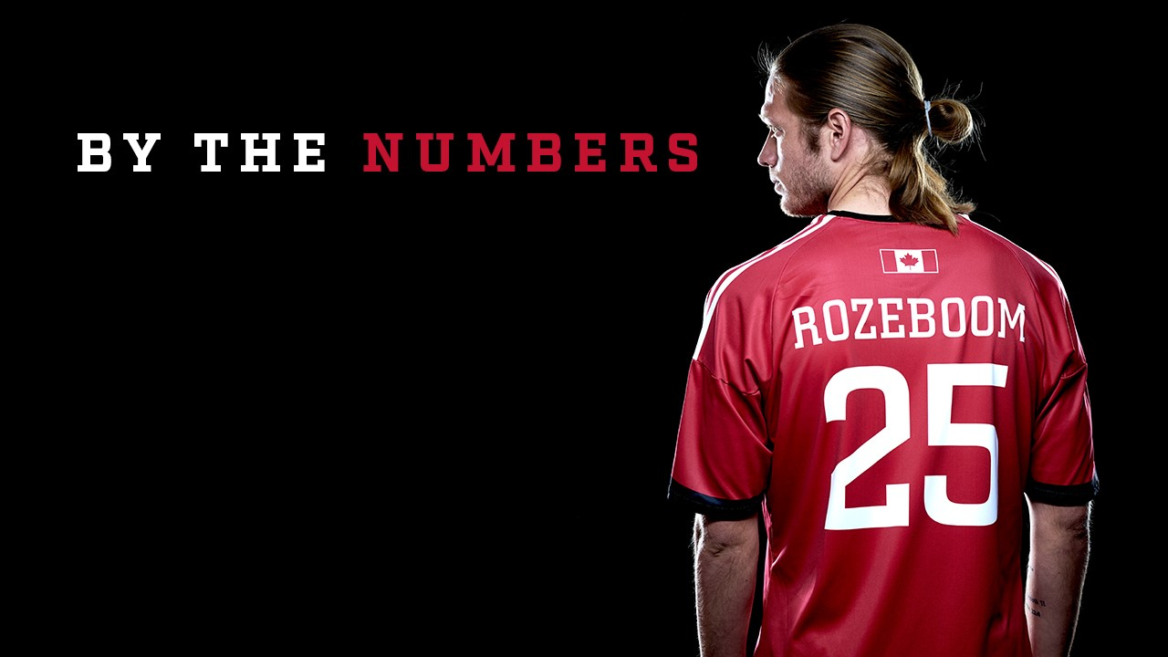 """Graphic image of Lance Rozeboom, with his back turned, and the title """" By the Numbers"""" written besides him"""