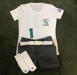 white jersey, charcoal pants, white belt, white socks