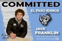 Jack Franklin joins El Paso Rhinos in NAHL