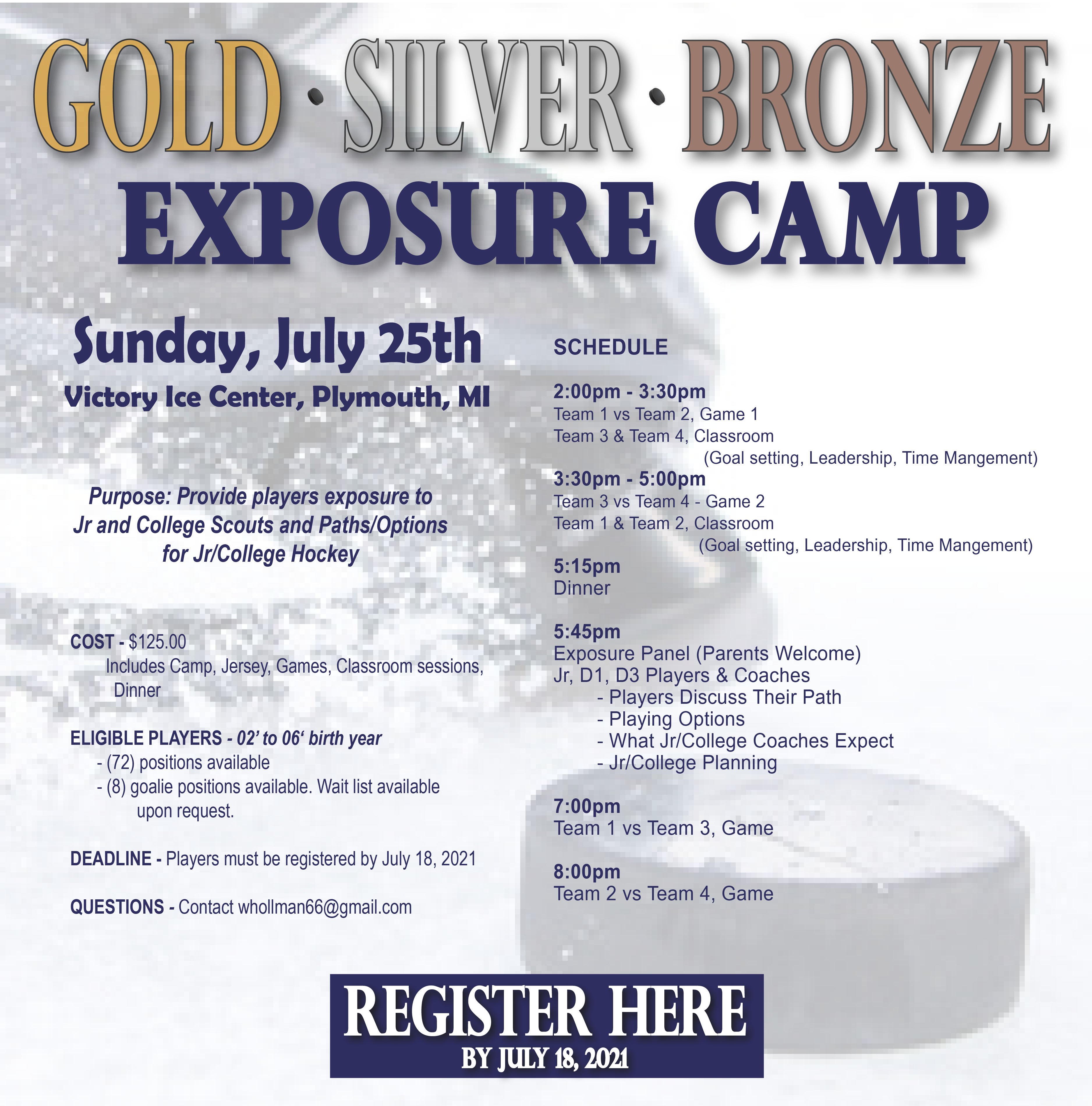 Gold Silver Bronze Exposure Jr Camp