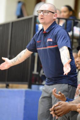 Constitution coach Rob Moore reacts to a play on the sidelines